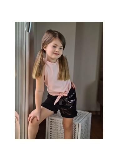 Quzucuk Kids Kız Çocuk Pul Payetli Şort Pembe Takım Pembe